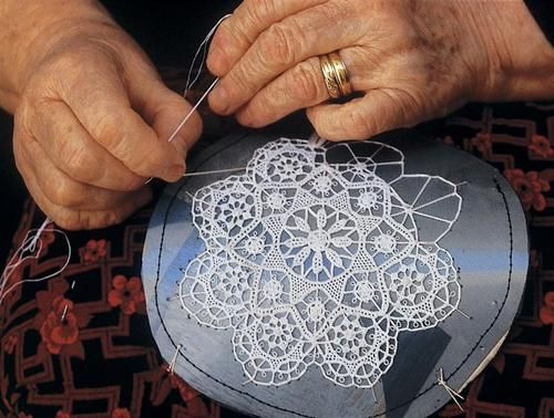 Pag lace is a type of lacework from town Pag on the island of Pag, requires a needle, thread and backing which is a round or square hard stuffed pillow. (photo source: www.croatia.hr)