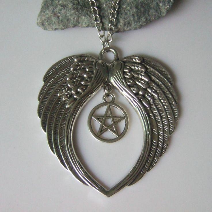 Античные Серебряные Ожерелья Тона Большие Крылья Ангела Перо Сердце Качает Пентаграмму женские Ошейник Pingente Свадьбы