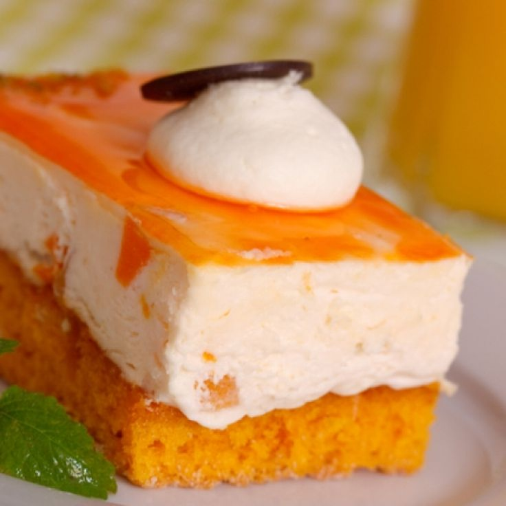 A gorgeous moist orange cake recipe with a delicious mango mousse topping.. Orange Mango Mousse Cake Recipe from Grandmothers Kitchen.