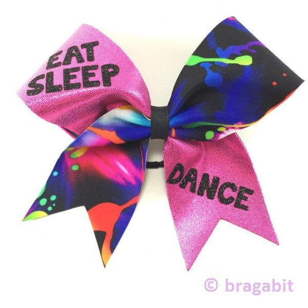 Eat sleep dance pink mystique fabric with multicolor fabric and black glitter design.