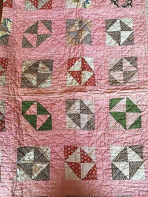 antique vintage baby crib quilt 1890s pink red green brown