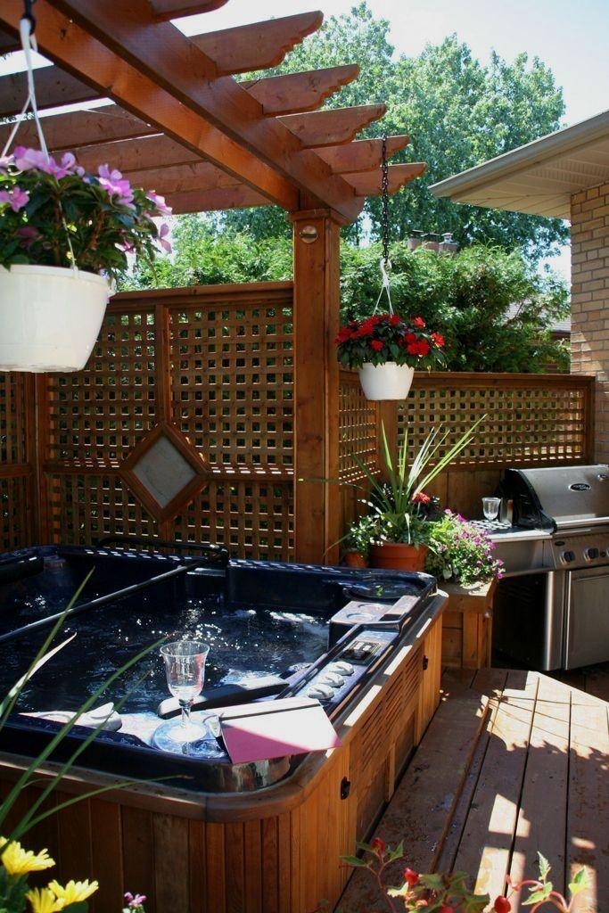 Wonderful hottub landscaping Tricks | Hot tub patio, Hot ...