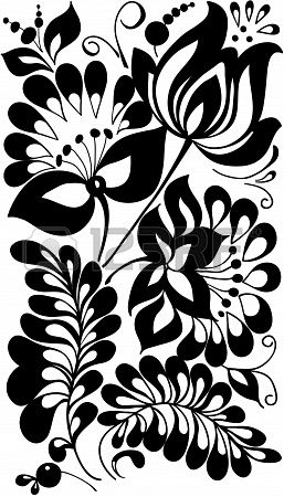 black and white flowers and leaves  Floral design element in retro style Stock Photo - 17665935