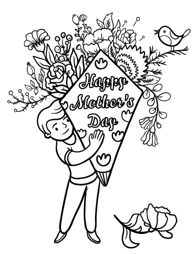 Printable Happy Mothers Day Coloring Page Free PDF Download At Coloringcafe