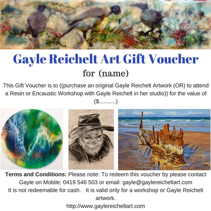 Gift Voucher to purchase at $1.00 increments to any amount you wish to nominate.  Only for a Gayle Reichelt Artwork, or Gayle Reichelt Workshop.