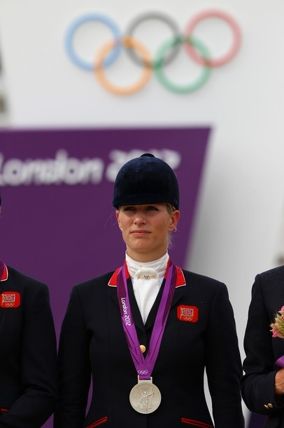 Zara after winning a silver medal in showjumping 31 July 2012