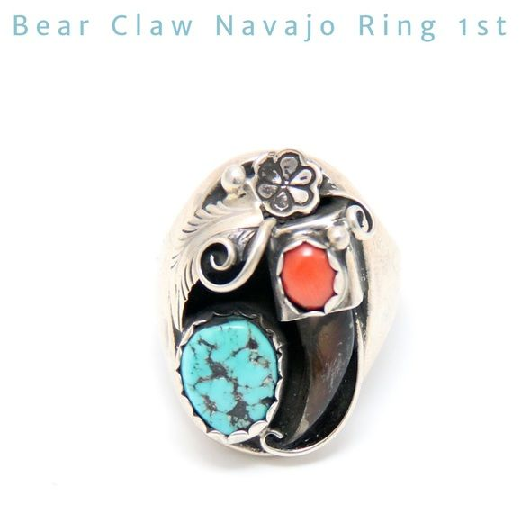 Old Pawn Bear Claw Turquoise and Coral, .925 Ring MATERIALS  Sterling silver, Turquoise, Coral, Real Bear Claw  WEIGHT  0.8oz 25g    MEASUREMENTS              1.2 x0.8 x 1.5 inches 3 x26 x 3.25 cm Size:11 DESCRIPTION A stunning accent to any other piece in our bear claw collection, or this piece can hold its old . The true meaning of strength, the bear claw, is accented sterling silver inlay with coal mines turquoise and coral. The bear claw speaks for itself inspired by the Native American…