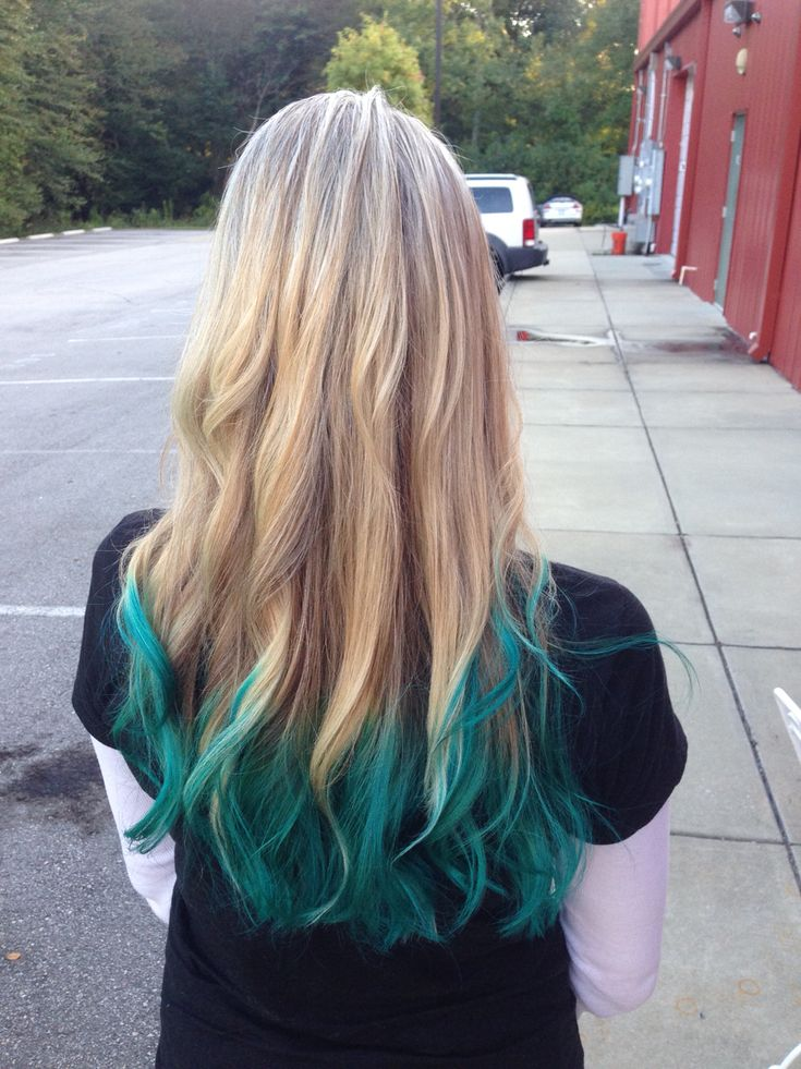 blonde hair with teal green ombre
