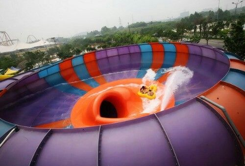 Chimelong Water Park in Guangzhou, China is the largest water park in the world. The owners are on a path to have the biggest, tallest, and best water rides in the world. Currently, The Behemoth Bowl is their best. 4 riders get in a four-man cloverleaf tube and after completing an 80-metre-long translucent tube, riders plummet into a massive bowl where centrifugal force propels the riders around the inside and then throws them into the central drop chute.