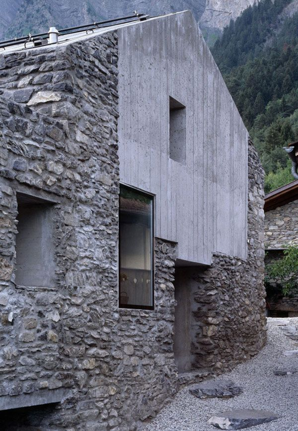 Genuine Rocky Architecture in Switzerland: The Chamoson Residence by Savioz Fabrizzi Architecte