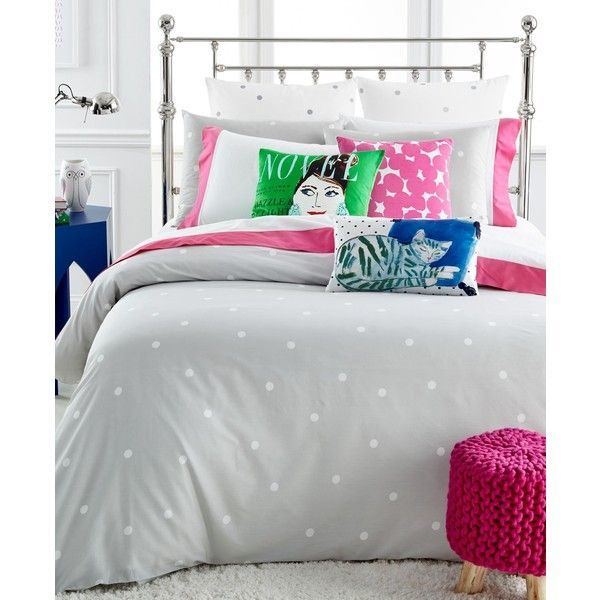 kate spade new york Deco Dot Platinum King Comforter Set (320 CAD) ❤ liked on Polyvore featuring home, bed & bath, bedding, comforters, platinum, king size bedding, cotton comforter, cotton king comforter set, polka dot comforter and king size pillow shams
