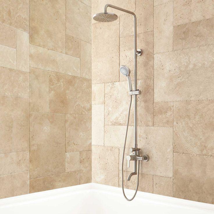 Jurado Exposed Pipe Tub and Shower Set - Brushed Nickel - Tub and Shower Sets - Shower - Bathroom