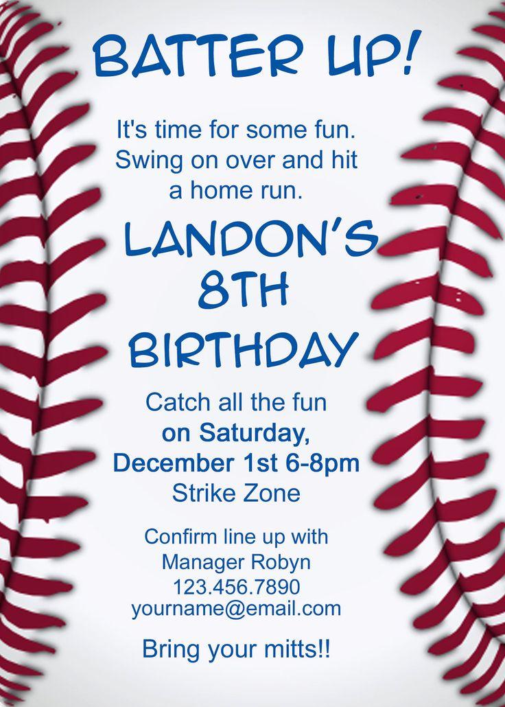 20 best Invitations images on Pinterest Baseball invitations