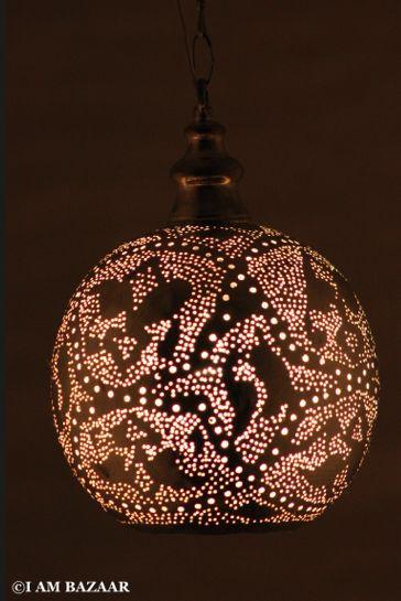 Bollamp Koraa zilver | Arabisch handgemaakte Egyptische moderne lampen. Oosterse lampen, Waxinelichthouders, Handgeweven Tapijten, Kussenhoezen en Sieraden