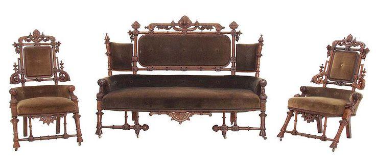 "3 piece walnut Victorian parlor suite signed ""Hunzinger NY Pat March 30 1869″  http://souhantq.com/george-hunzinger-parlor-suite/#"
