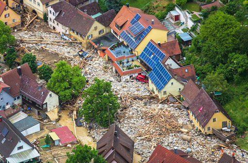 Braunsbach in Baden-Württemberg wurde von dem Unwetter mit am heftigsten getroffen.  Foto: dpa
