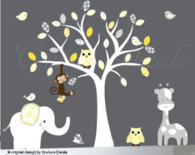 Vinile parete decalcomania vivaio albero parete decalcomania giallo e il grigio - 0187