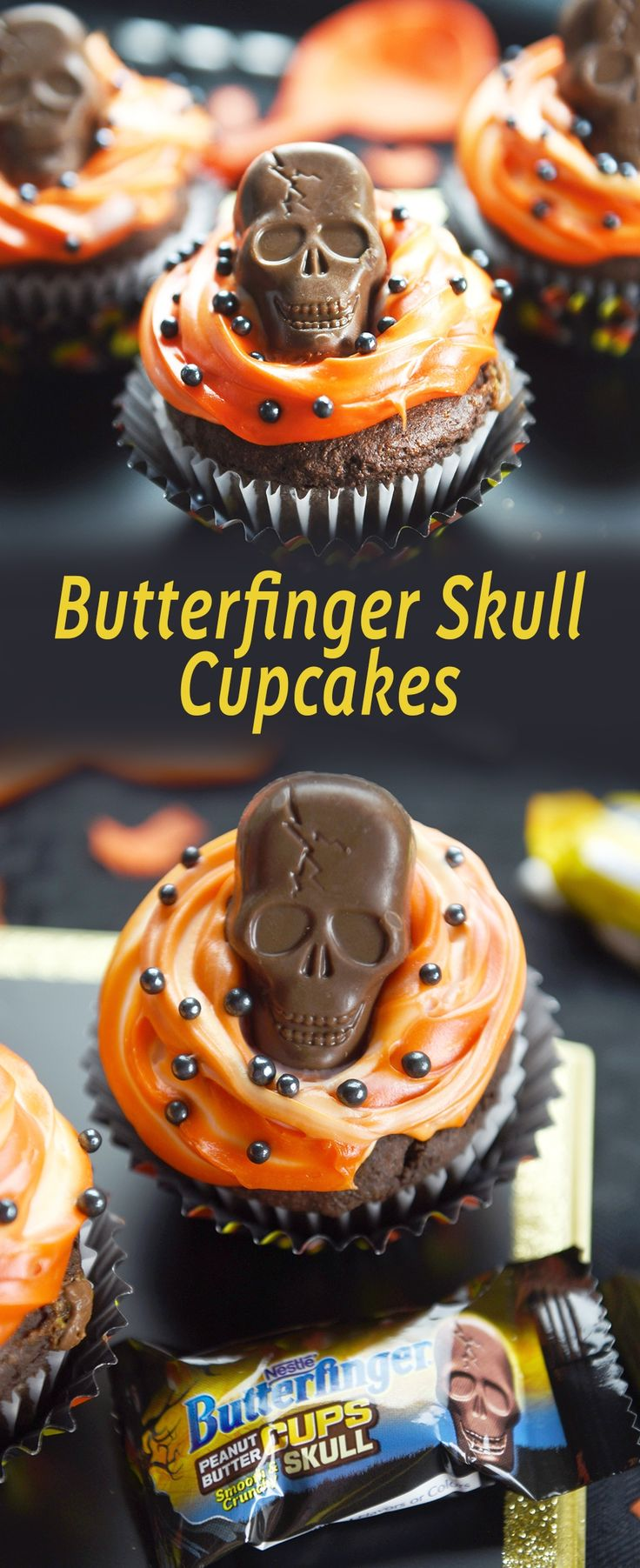 These Butterfinger Skull Cupcakes have a taste of Butterfinger inside and are topped with a creamy Butterfinger Peanut Butter Skull Cups!   #ad https://ooh.li/87edd1c #TrickorButterfinger