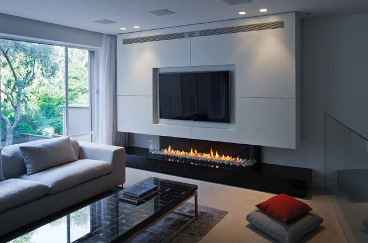 A Long Gas Fireplace Long Low Three Sided Gas Fireplace