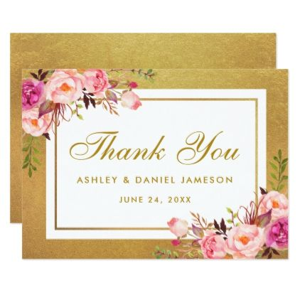 Gold Pink Watercolor Floral Wedding Thank You Summer Wedding