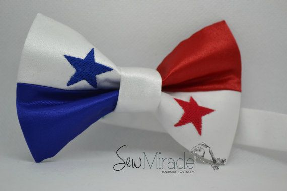 Panama Flag bow tie pre-tied bow tie Men's bow tie by SewMiracle