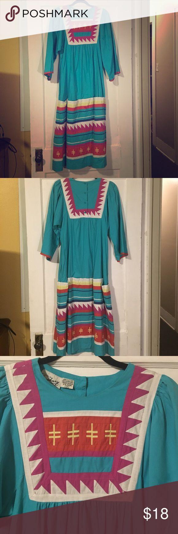 Vintage Saybury 1970s Style Dress Sz S Super cute turquoise 1970s bohemian Aztec vintage maxi dress. Vintage designer Saybury. Size S. No damages. Vintage Dresses Maxi