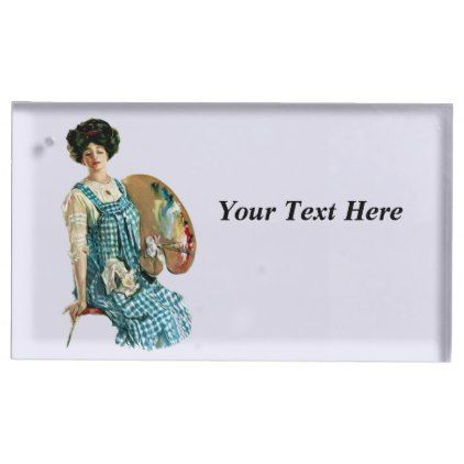 #wood - #Victorian Lady Artist Checkered Smock Paints Place Card Holder