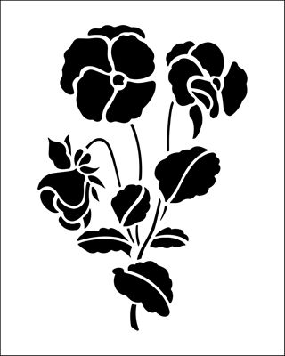 Pansies stencil from The Stencil Library BUDGET STENCILS range. Buy stencils online. Stencil code SS35.