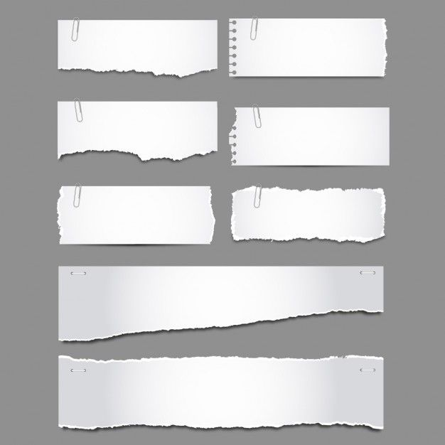 Torn papers with clips pack Free Vector