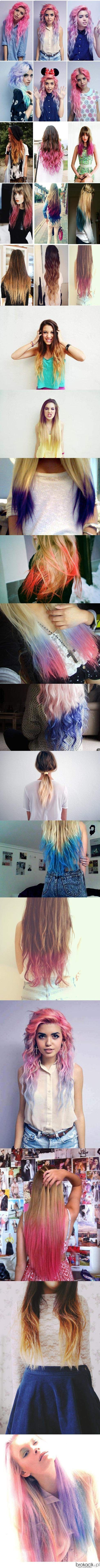colorful ombre hair :) I would dye my hair almost all of these. sooooo cool!!!!!