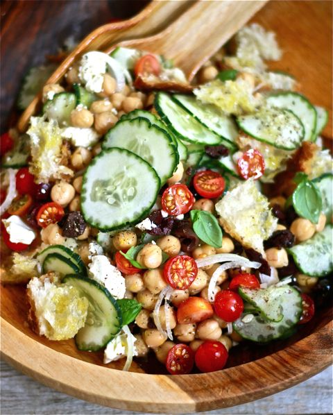 Chickpea Panzanella. Chickpeas, cherry toms, cucumber, Kalamata olives, sweet onion, feta, lemon juice & oil.