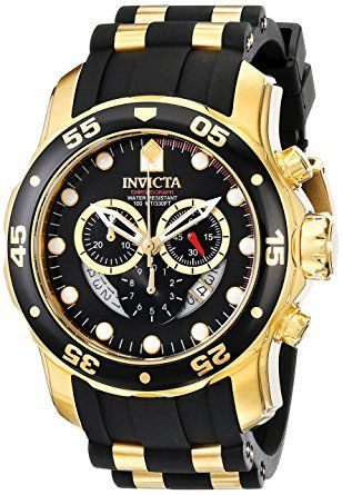 Invicta Men's 6981 Pro Diver Analog Swiss Chronograph Black Polyurethane Watch: Invicta: Watches