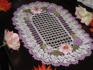 Krone Crochet: Brand new oval crochet doily with flowers