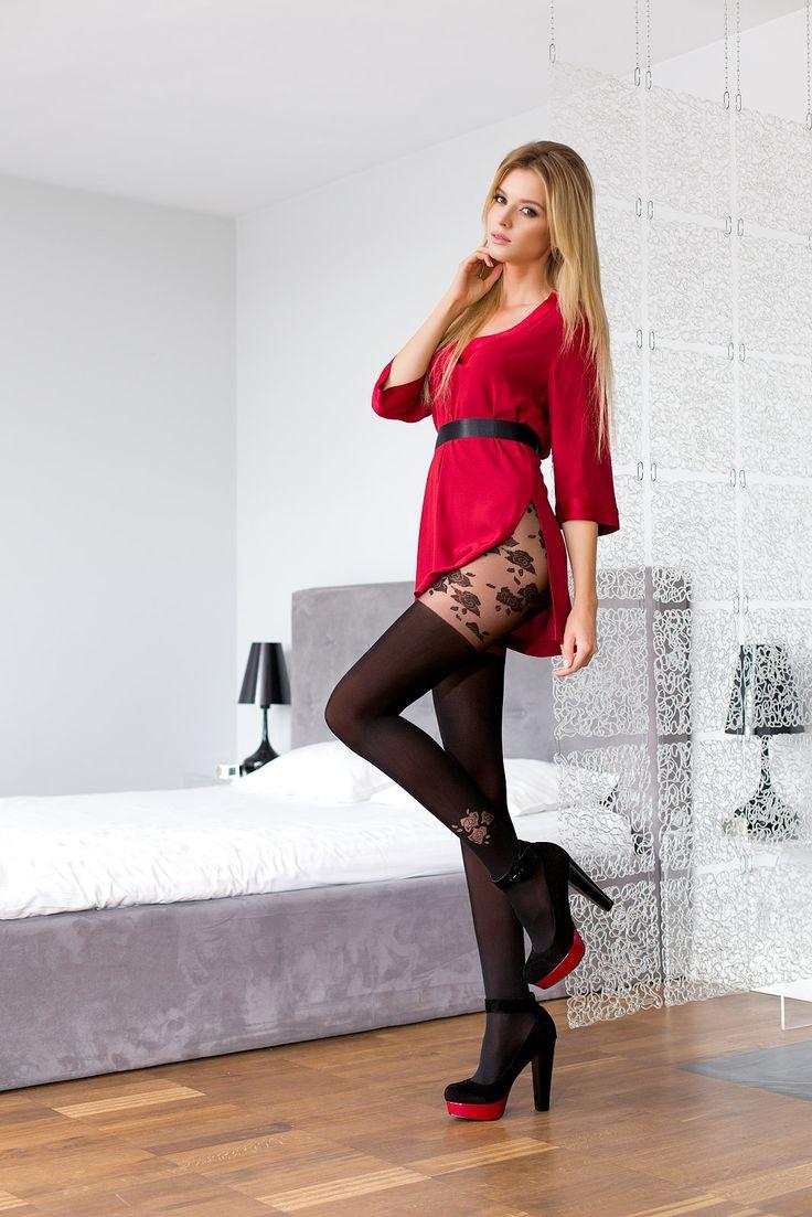 GIULIA 42 #tights #patterned #fashion #legs #legwear #stockingsimitation #black #flowers
