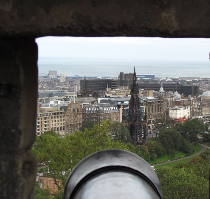 A view of the city of Edinburgh through the Castle walls.