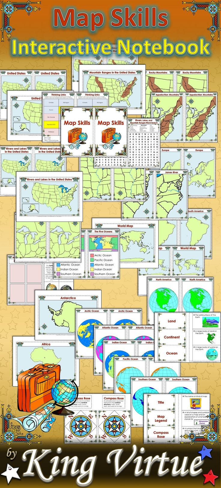 Map Skills Interactive Notebook By King Virtue S Classroom This Map Skills Interactive Notebook Covers The