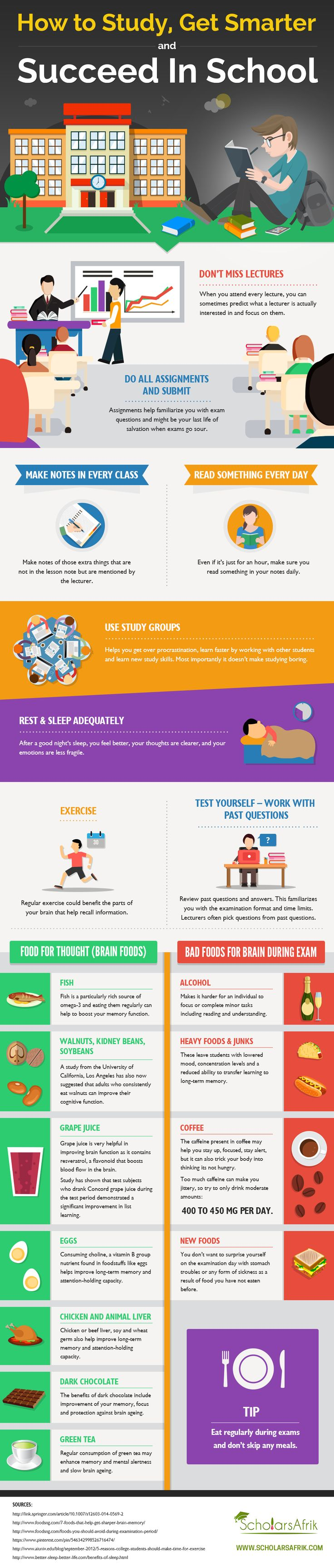 How to Study, Get Smarter & Succeed in School Infographic - http://elearninginfographics.com/how-to-study-get-smarter-succeed-in-school-infographic/