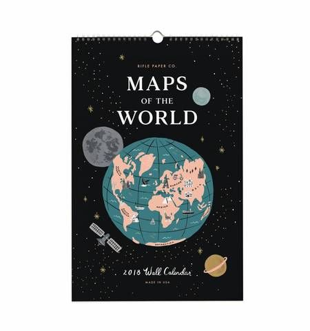 """2018 calendar featuring 12 travel-inspired original illustrations from around the world including Paris, London, Rome, Amsterdam, among others. From Rifle Paper Co.  Size: 11""""x 17""""  #map #2018calender #mapsoftheworld #world #illustration #giftsforher"""