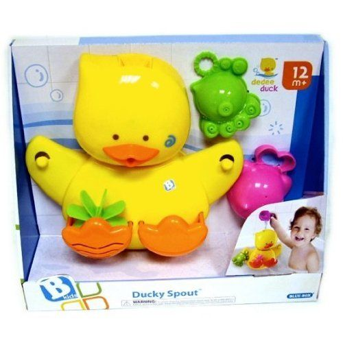 BKids Ducky Spout Bathtub Toy by BKids. $23.99. Inspires creativity. Operates by pouring water into the ducks head. Hilariously cute. Dedee Duckspouts water from his mouth, flaps his wings and bobbles his head. Comes with and octopus and whale water scooper, with sprinkler hole design.