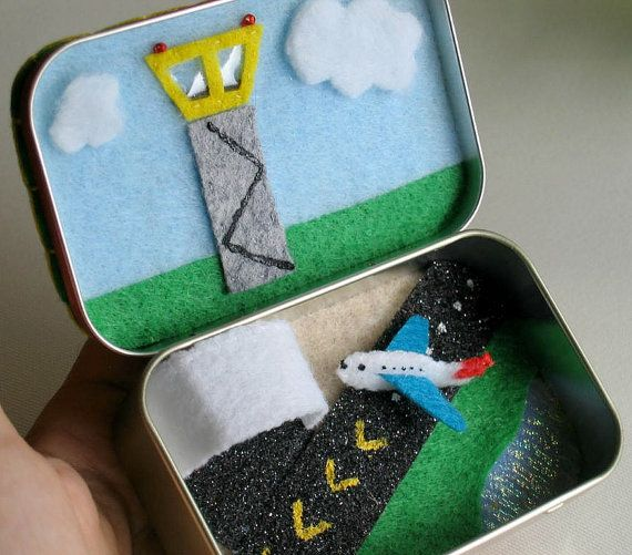 Airplane play set in an Altoid tin - control tower, hanger and two runways on Etsy, $24.00
