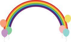 虹の架け橋(レインボーブリッジ)と風船のフレーム飾り枠イラスト