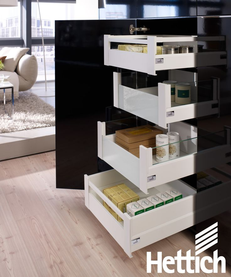 The ArciTech drawer from Hettich allows for wide drawers with heavy loads. Available in 40, 60 & 80kg loading categories.Click on the pin for more inspiration & information! #kitchenorganization #kitchendrawers