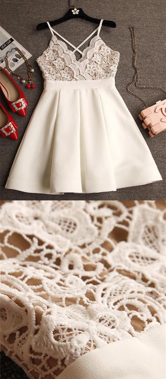 Criss-Cross Straps Homecoming Dresses,Short Ivory Homecoming Dresses,Lace Homecoming Dresses,Homecoming Dresses 2017,Cocktail Dresses 2017