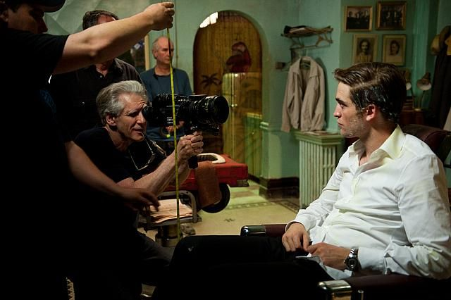 Cronenberg and Pattinson on the Cosmopolis set.
