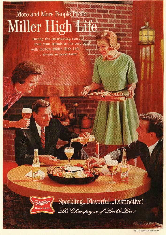 1966 Miller High Life Beer Entertaining by Fireplace Vintage Color Ad 1960s