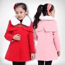 2015 yeni Koreli kız moda kırmızı yün kış sıcak palto ceket çocuk artı kaşmir yün ceket(China (Mainland))