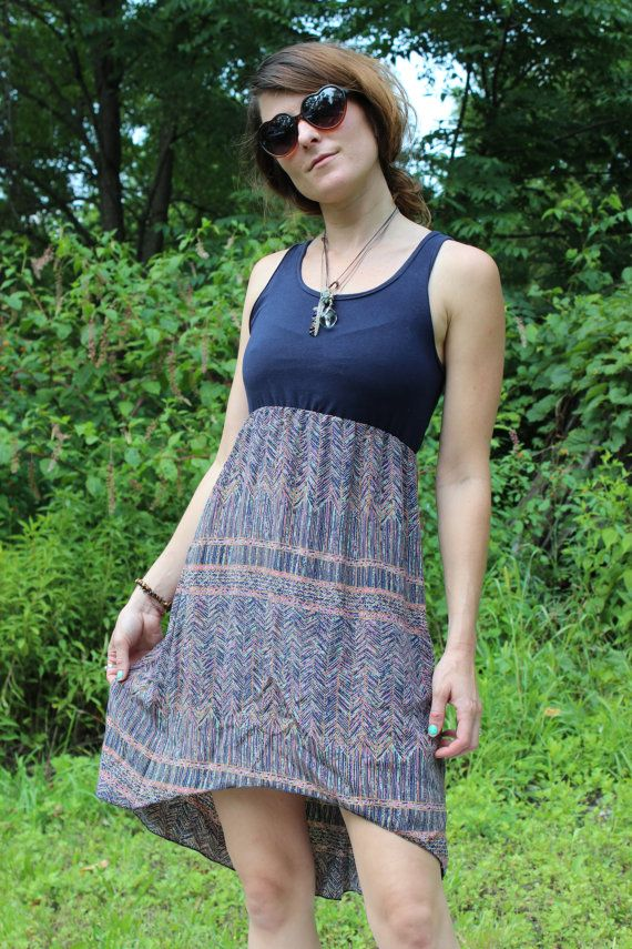 Blue & Patterned Silk Gypsy Jumper by CozmicCreationDesign on Etsy