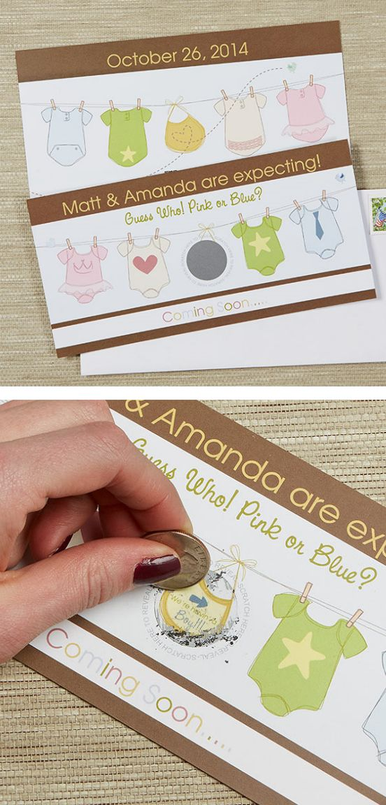 OMG! Scratch off Baby Announcements!!! Such a cute idea!! This would be so fun to get in the mail and find out the baby's gender!! What a cute way to tell people you're pregnant! #Baby #GenderReveal #BabyAnnouncement: Baby Lacher, Cute Ideas, Baby Genderrev, Baby Announcements, Announcements Ideas, Baby Palazzo, Genderrev Babyannounc, Baby Shower
