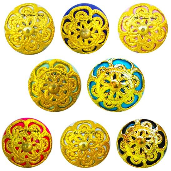 Beautifully carved, hand painted traditional ceramic knobs in Gold finishing only at www.indianshelf.com