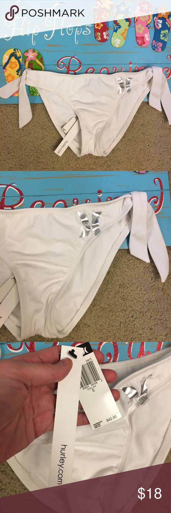 💕NWT HURLEY bikini bottoms💕 NWT size small HURLEY white and silver bikini bottoms have ties on the sides Hurley Swim Bikinis